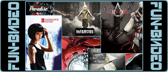 Video Heavy Rain, Mirror's Edge, Burnout Paradise, Assassin's Creed 2, inFamous
