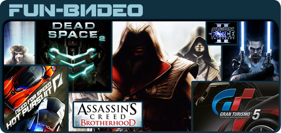 Star Wars The Force Unleashed II, Gran Turismo 5, Need For Speed Hot Pursuit (2010), Assassin's Creed: Brotherhood, Dead Space 2